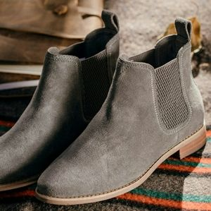 Toms Ella Ankle Boot Gray Suede Bootie 9 Basic